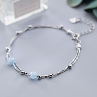 925 Sterling Silver Bead Layered Bracelet S925 Silver Bracelet - One Size from A ROCH