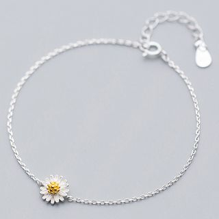 925 Sterling Silver Daisy Bracelet White Daisy - Silver - One Size from A ROCH