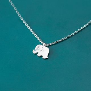 925 Sterling Silver Elephant Pendant Necklace S925 Silver - One Size from A ROCH