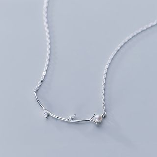 925 Sterling Silver Faux Pearl Branches Necklace Silver - One Size from A ROCH