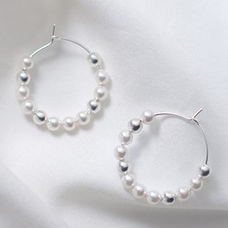 925 Sterling Silver Faux Pearl Hoop Earring 1 Pair - Earring - One Size from A ROCH