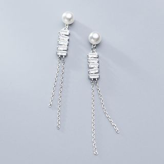 925 Sterling Silver Faux Pearl Rhinestone Fringed Earring 1 Pair - S925 Silver - One Size from A ROCH