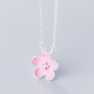 925 Sterling Silver Flower Necklace As Shown In Figure - One Size from A ROCH