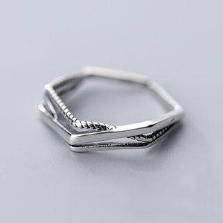 925 Sterling Silver Geometric Layered Ring Silver - One Size from A ROCH