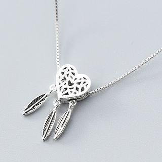 925 Sterling Silver Heart Dream Catcher Pendant Necklace Excluding Chain - S925 Silver - Single Pendant - Dream Catcher - One Size from A ROCH