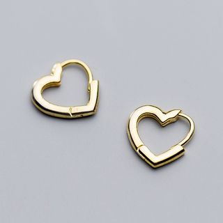 925 Sterling Silver Heart Earrings 1 Pair - Gold - One Size from A ROCH