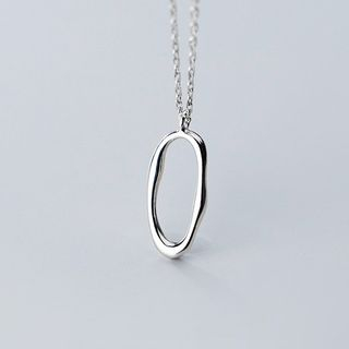 925 Sterling Silver Irregular Oval Pendant Necklace S925 Silver - One Size from A ROCH