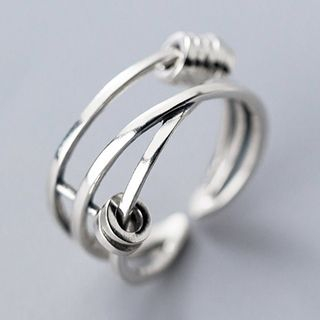 925 Sterling Silver Layered Open Ring Open Ring - 925 Sterling Silver - One Size from A ROCH