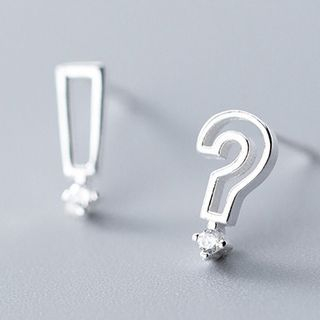 925 Sterling Silver Non-matching Question & Exclamation Mark Earring 1 Pair - S925 Silver - As Shown In Figure - One Size from A ROCH
