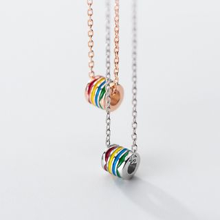 925 Sterling Silver Rainbow Pendant Necklace from A ROCH