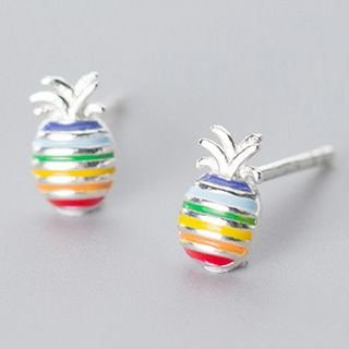 925 Sterling Silver Rainbow Pineapple Earring 1 Pair - s925 Silver - Multicolor - One Size from A ROCH