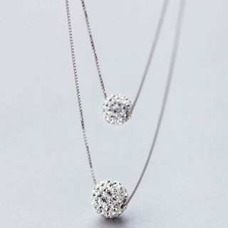 925 Sterling Silver Rhinestone Ball Layered Necklace S925 Silver - Necklace - Silver - One Size from A ROCH