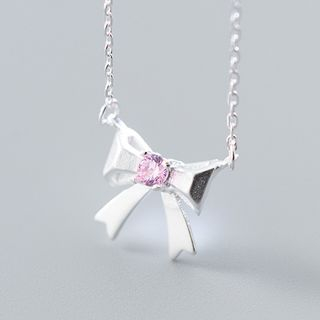 925 Sterling Silver Rhinestone Bow Pendant Necklace Silver - One Size from A ROCH