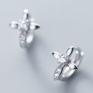 925 Sterling Silver Rhinestone Clover Earring As Shown In Figure - One Size from A ROCH