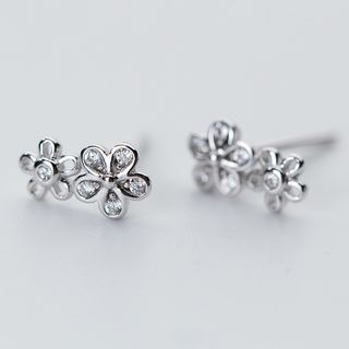 925 Sterling Silver Rhinestone Flower Stud Earring from A ROCH