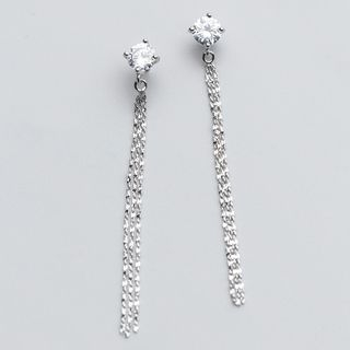 925 Sterling Silver Rhinestone Fringed Earring from A ROCH