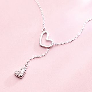 925 Sterling Silver Rhinestone Heart Pendant Necklace Silver - One Size from A ROCH