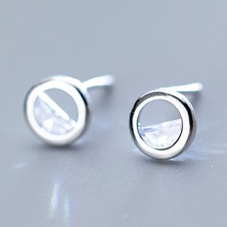 925 Sterling Silver Rhinestone Mini Hoop Earring 1 Pair - S925 Silver - Silver - One Size from A ROCH