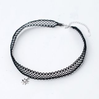 925 Sterling Silver Rhinestone Octagram Choker As Shown In Figure - One Size from A ROCH