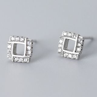 925 Sterling Silver Rhinestone Square Earring 1 Pair - S925 Silver Earrings - Silver - One Size from A ROCH