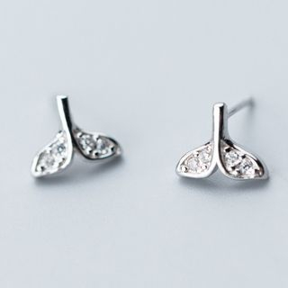 925 Sterling Silver Rhinestone Whale Tail Earring from A ROCH