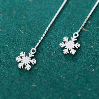 925 Sterling Silver Snowflake Threader Earring As Shown In Figure - One Size from A ROCH