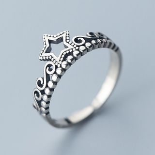 925 Sterling Silver Star Crown Open Ring S925 Silver - As Shown In Figure - One Size from A ROCH
