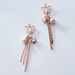 925 Sterling Silver Star Faux Pearl Fringed Earring from A ROCH
