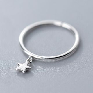 925 Sterling Silver Star Open Ring Adjustable - S925 Sterling Silver Ring - One Size from A ROCH