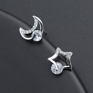 925 Sterling Silver Moon-and-Star Earrings from A ROCH