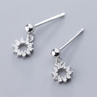 Rhinestone Flower Drop 925 Sterling Silver Earring 1 Pair - S925 Silver - One Size from A ROCH