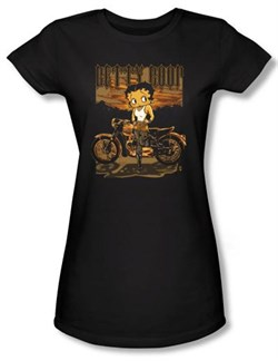 Betty Boop Juniors T-shirt Rebel Rider Black Tee from A&E Designs