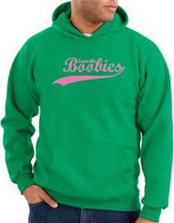 Breast Cancer Hoodie - Distressed Save The Boobies Kelly Green Hoody from A&E Designs