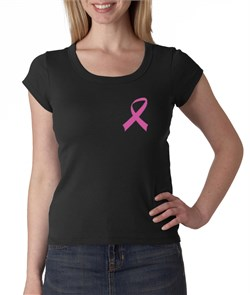 Breast Cancer Ladies Shirt Scoop Neck Pink Ribbon Pocket Print Black from A&E Designs