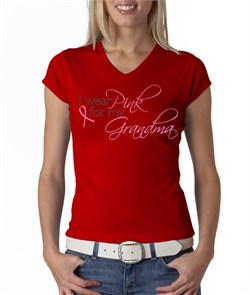 Breast Cancer Ladies Shirt V-neck I Wear Pink For My Grandma Red from A&E Designs