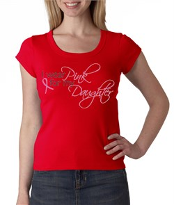 Breast Cancer Ladies T-shirt Scoop Neck Pink For My Daughter Red Shirt from A&E Designs