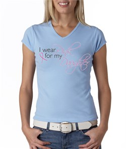 Breast Cancer Ladies T-shirt V-neck Pink For My Daughter Baby Blue Tee from A&E Designs