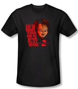 Child's Play 2 T-shirt Movie In Heaven Black Slim Fit Tee Shirt from A&E Designs