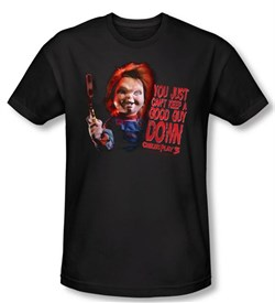 Child's Play 3 T-shirt Movie Good Guy Black Slim Fit Tee Shirt from A&E Designs