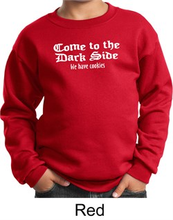 Funny Sweatshirt Come To The Dark Side We Have Cookies Kids Sweatshirt from A&E Designs