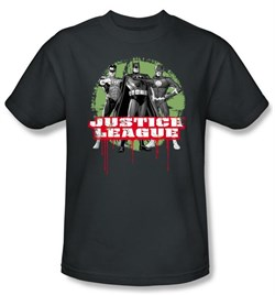 Justice League T-shirt - JLA Trio Adult Charcoal Gray Tee from A&E Designs
