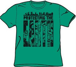 Justice League T-shirt - Protecting The Earth Adult Kelly Green Tee from A&E Designs