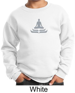 Kids Yoga Sweatshirt Lotus Pose Meditation Youth Sweat Shirt from A&E Designs