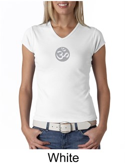 Ladies Yoga T-shirt  Om Symbol Small Print V-neck Shirt from A&E Designs