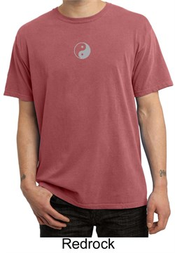 Mens Yoga T-shirt Yin Yang Small Print Pigment Dyed Tee Shirt from A&E Designs