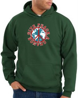 Peace Sign Hoodie Give Peace A Chance Hoody Dark Green from A&E Designs