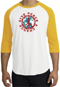 Peace Sign Shirt Give Peace A Chance Raglan T-Shirt White/Gold from A&E Designs