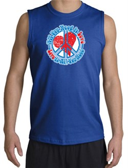 Peace Sign T-shirt All You Need Is Love Muscle Shirt Royal from A&E Designs
