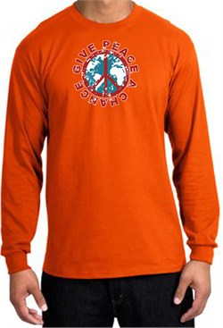 Peace Sign T-shirt Give Peace A Chance World Orange Long Sleeve Shirt from A&E Designs