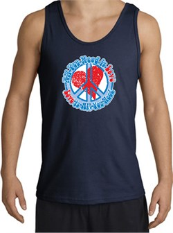 Peace Sign Tanktop - All You Need Is Love Adult Tank Top - Navy from A&E Designs